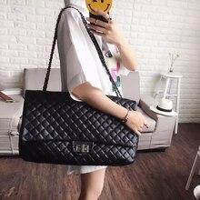 Caker 2017 Large Big Diamond Lattice Bag Women PU Handbag Embroidery Shoulder Bag Maxi Messenger Black Chian Travel Bags Bags