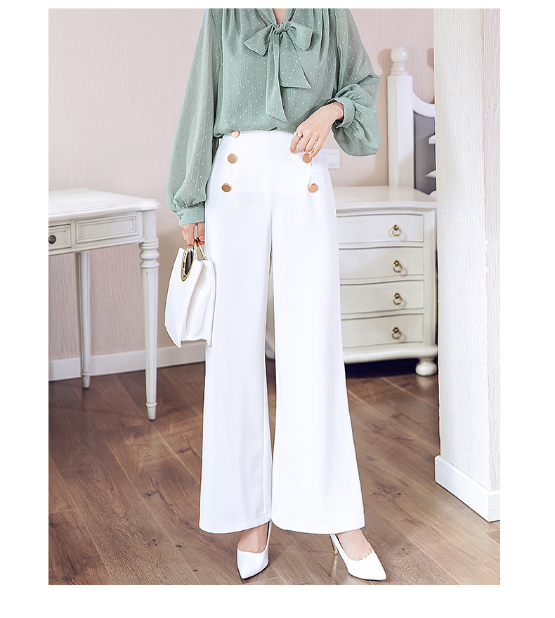 HTB1UIpqMSzqK1RjSZFpq6ykSXXaB - British OL style women's high waist wide leg pants casual loose female full length trousers with double gold buckles PA001