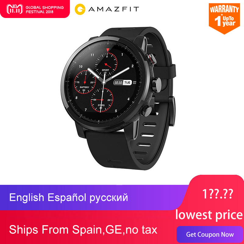 NEW Original Huami Amazfit Stratos Intelligents Sport Montre 2 5ATM Résistant À L'eau 1.34 «2.5D Écran GPS Firstbeat De Natation Smartwatch