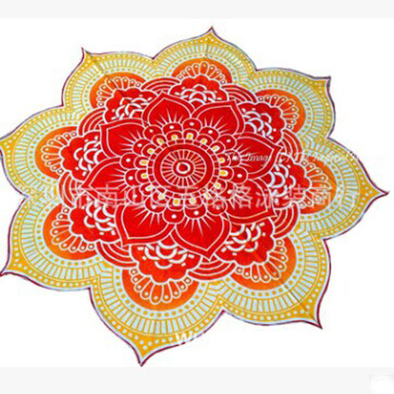 Image 4 - Lotus Flower Table Cloth Yoga Mat India Mandala Tapestry Beach Throw Mat Beach Mat Cover Up Round Beach Pool Home Blanket-in Tapestry from Home & Garden