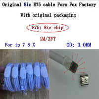 500pcs/lot 100% Genuine Original 1m/3ft 8ic E75 Chip Sync Data USB charger Cable for Foxconn X i7 8 6 plus 5s With green label