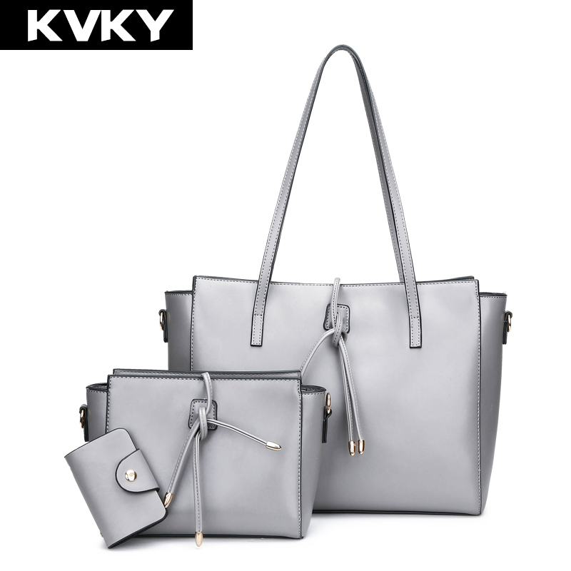 KVKY Brand 2017 Women Handbags High Quality Leather Shoulder Bags 3 Set Composite Messenger Bag Casual Ladies Tote Purse Bolsos new women leather bag handbags high quality women messenger bag casual shoulder bags women tote bag clutch ladies bolsos mujer