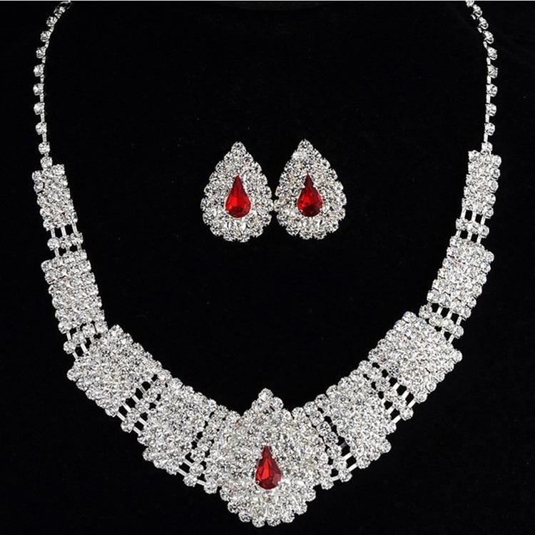 (6) - Bijoux De Mariage Luxueux, Goutte Boucle D'oreille Collier Ensemble Autriche Cristal,