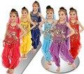 Novas Crianças Conjunto Meninas Trajes de Dança de Bollywood Indiano Traje de Dança Do Ventre Traje Para As Crianças 6 pçs/set Atacado