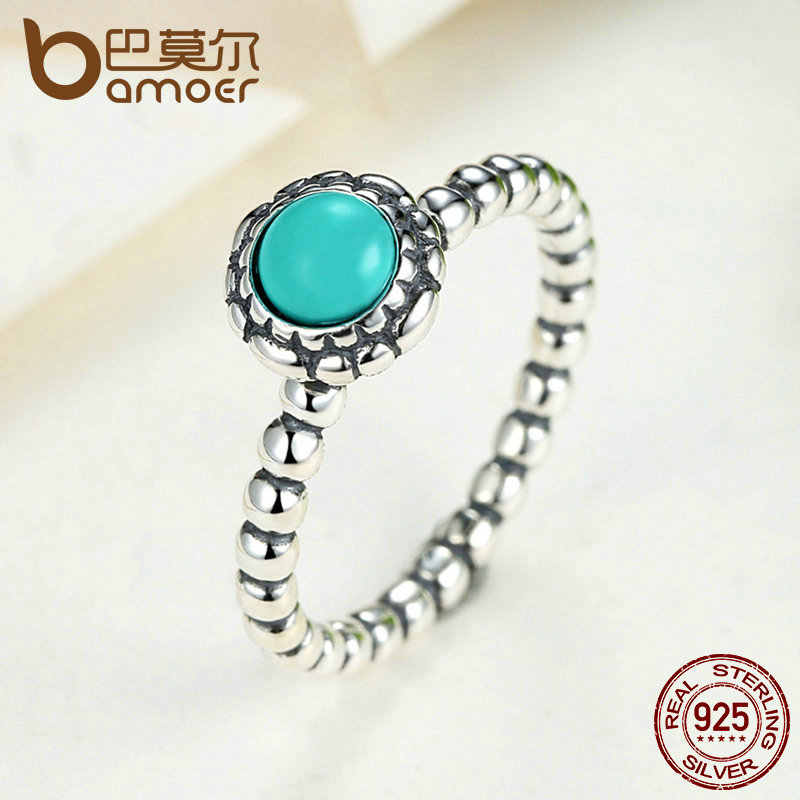 6d3daf66d ... BAMOER Birthday Blooms Ring December Stone Stackable Bubble Ring 100%  925 Sterling Silver Jewelry PA7162 ...