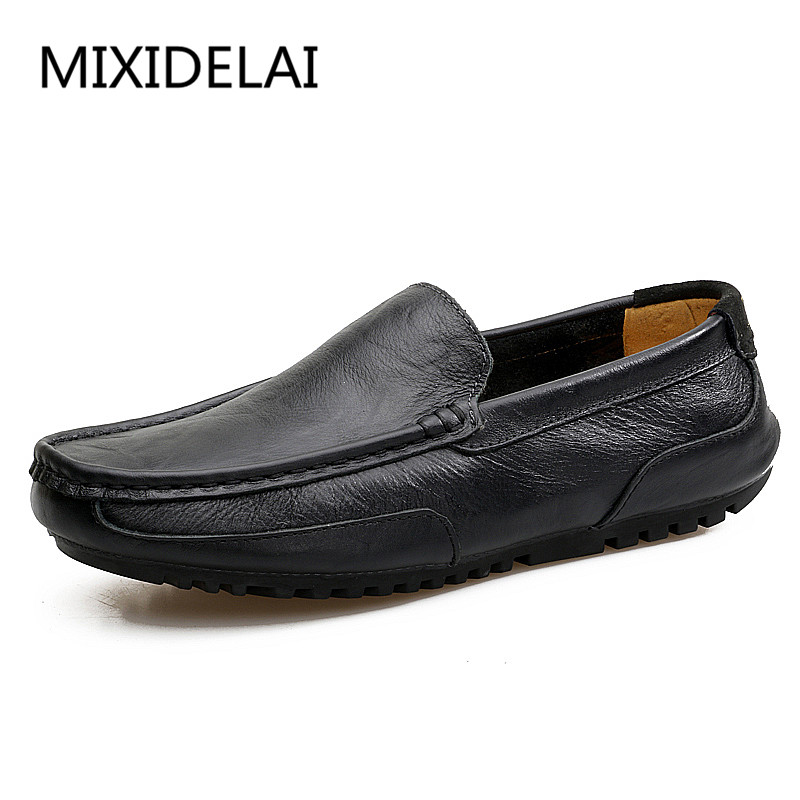 MIXIDELAI Plus Size 38-46 Slip on Comfortable Leather Handmade Mens Loafers Men Casual Moccasins Male Breathable Driving Shoes qinsir plus size 38 46 slip on casual mens loafers spring and autumn mens moccasins shoes genuine leather men s flats shoes