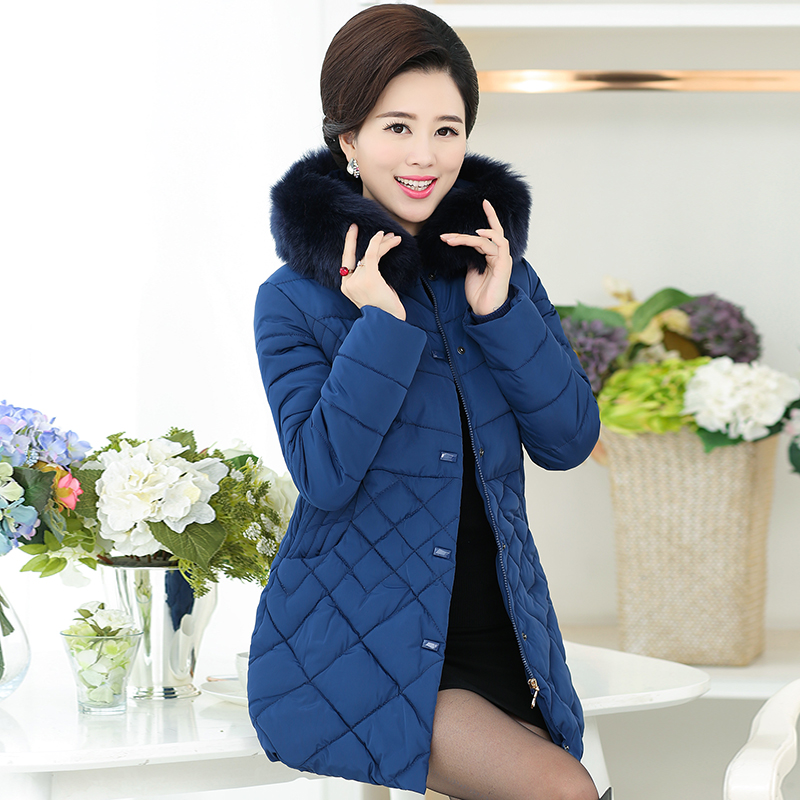2017 Middle - aged women in the long down jacket middle - aged mother loaded thicker coat collar coat large cotton jacket mother loaded cotton coat thickening in the elderly female down in the winter long new cotton jacket