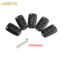 LARATH Uncut Flip Key Case Remote Key Shell Car Covers 3 Button for Kia key for kia IX35 K2 K5 Sportage Picanto Rio with blade