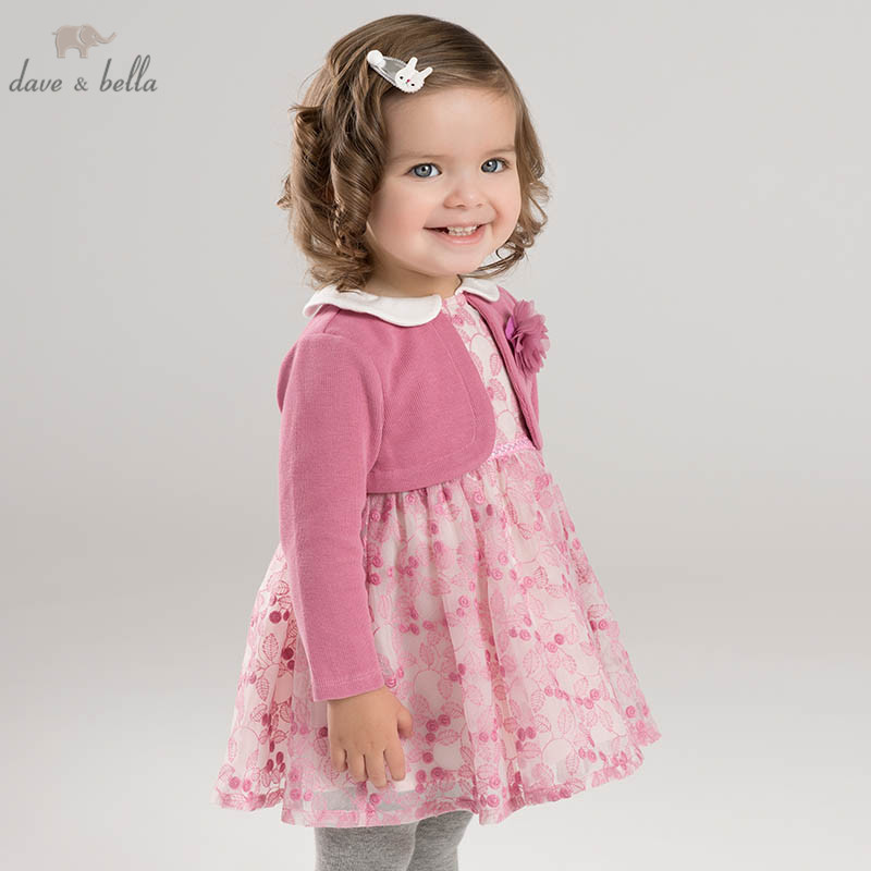DBM6967 dave bella spring infant baby girl s Knitted Dress fashion floral birthday party dress toddler