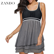 Zando Womens 2 Piece Swimdress Plus Size Skirted Bathing Suit for Women Slimming Swimwear Tankini Swimsuit Swim Dress недорого