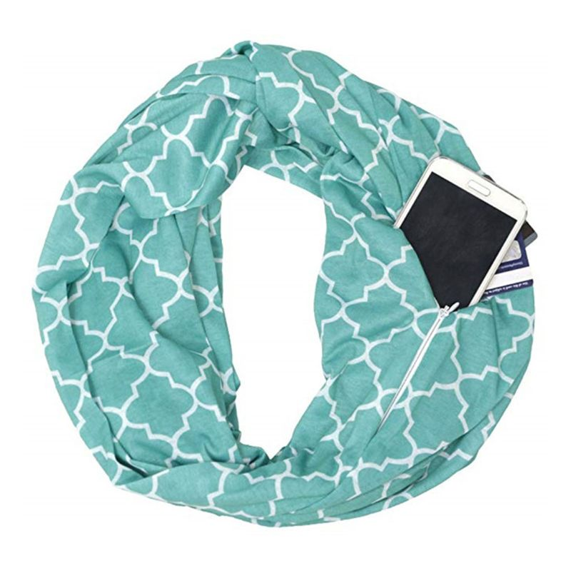 Womens Double Layer Hidden Zipper Pocket Infinity Loop Scarf Quatrefoil Four Petals Flower Geometric Pattern Solid Color Winter
