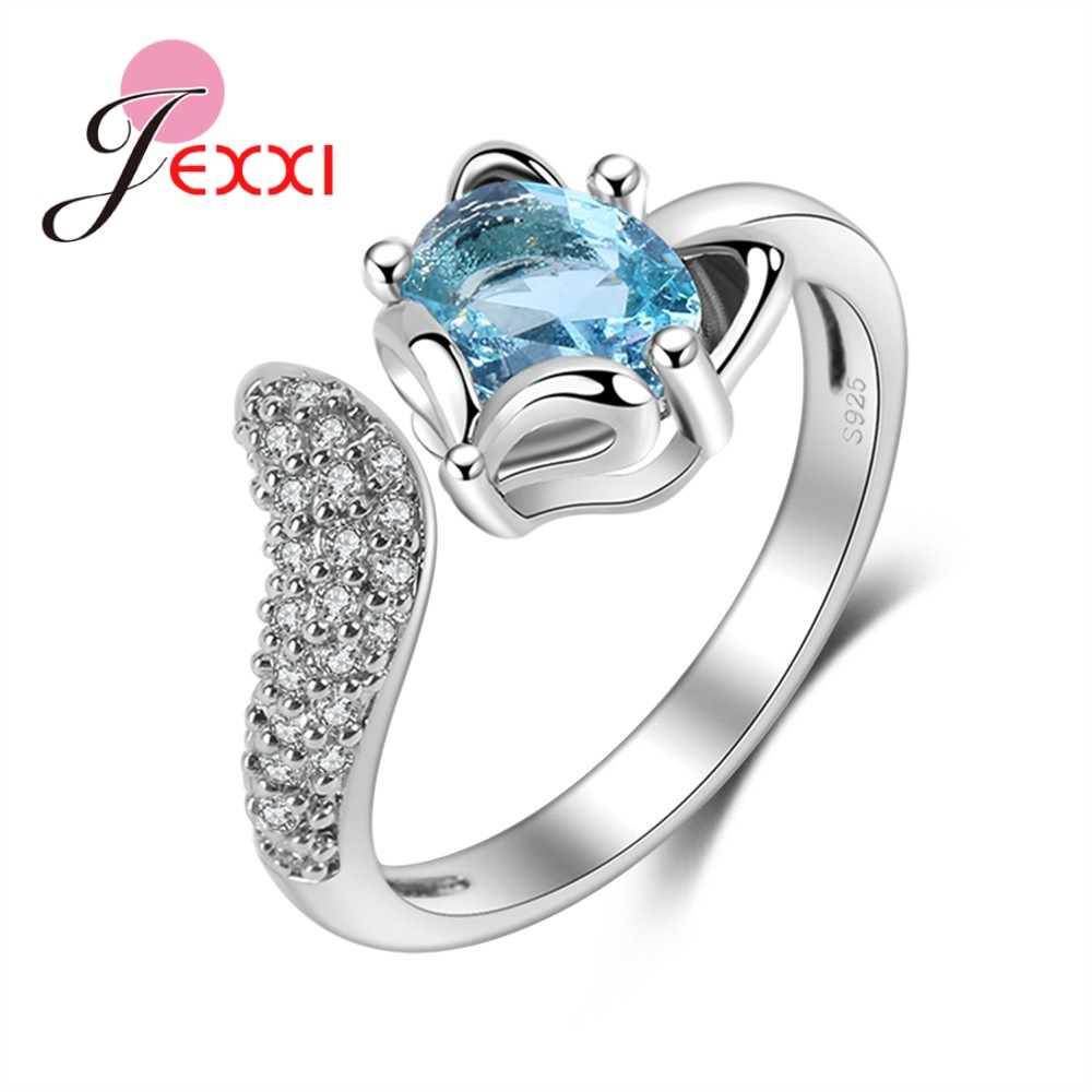 Fashion Fox Open Ring With shiny CZ Charm 925 Sterling Silver Women Appointment Jewelry Romantic Gift High Quality(China)