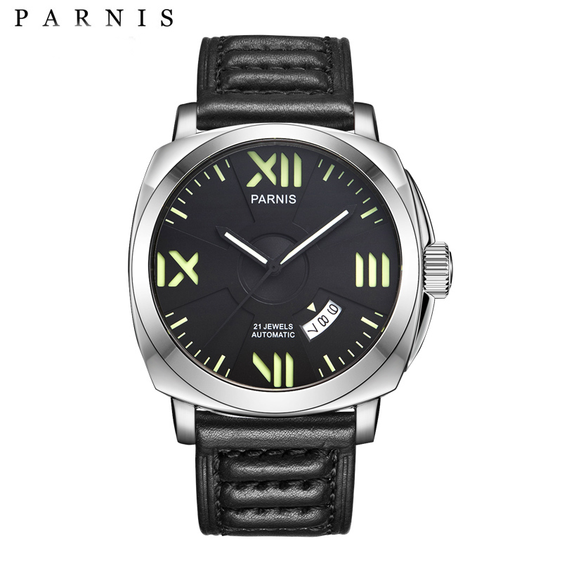 Parnis 44mm Mens Watces Top Brand Luxury Automatic Watch  Mechanical Watches Calendar Luminous 100M Swim Gife For Men|Mechanical Watches| |  - title=