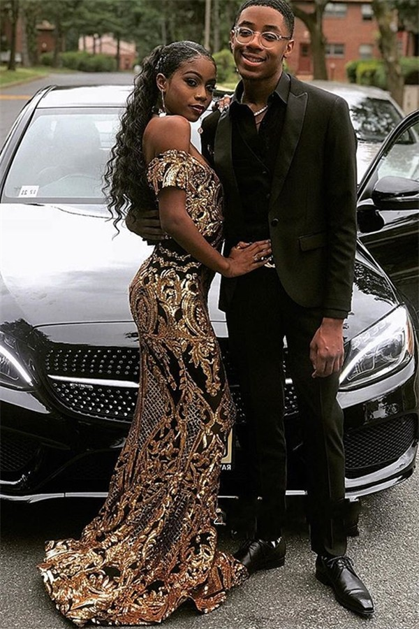 Sexy Sparkly Gold Sequins African Long   Prom     Dresses   2019 off shoulder V Neck Women Mermaid Evening Party Gowns For Black Girls