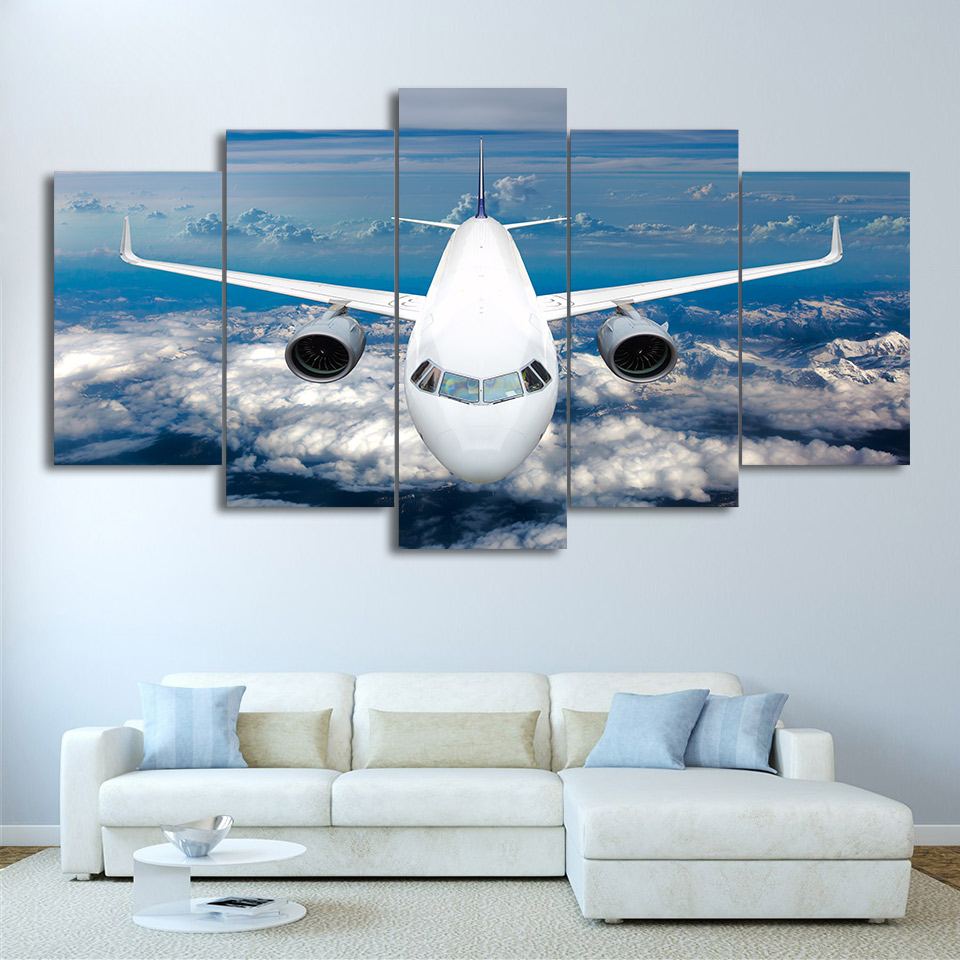 Living Room Home Decor Pictures Painting Wall Art 5 Piece/Pcs Airplane Blue Sky Frame HD Printed Modern Canvas Modular Poster image