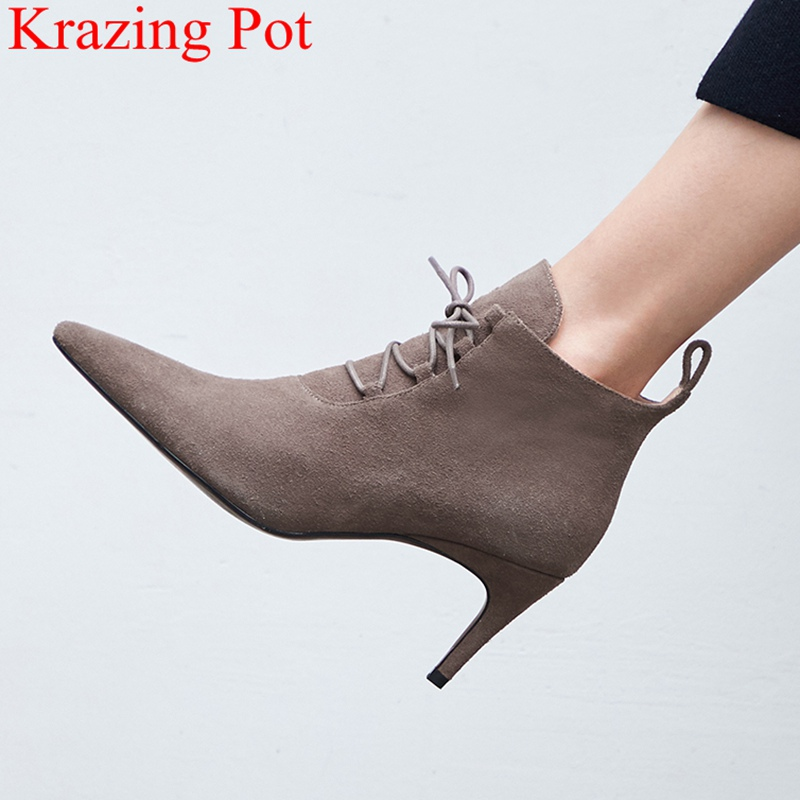 2018 superstar cow suede high heels pointed toe ankle boots women lace up concise elegant office