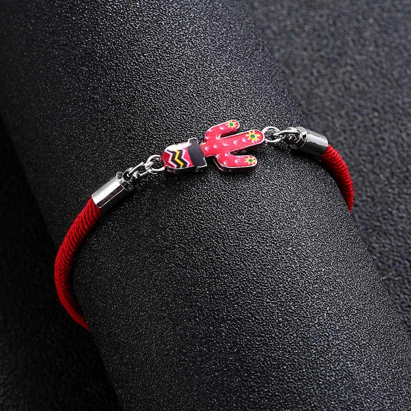 新ファッションラッキー赤ロープ革陰と陽ゴシップスター象サボテン蝶女性チャームアジャスタブルブレスレット