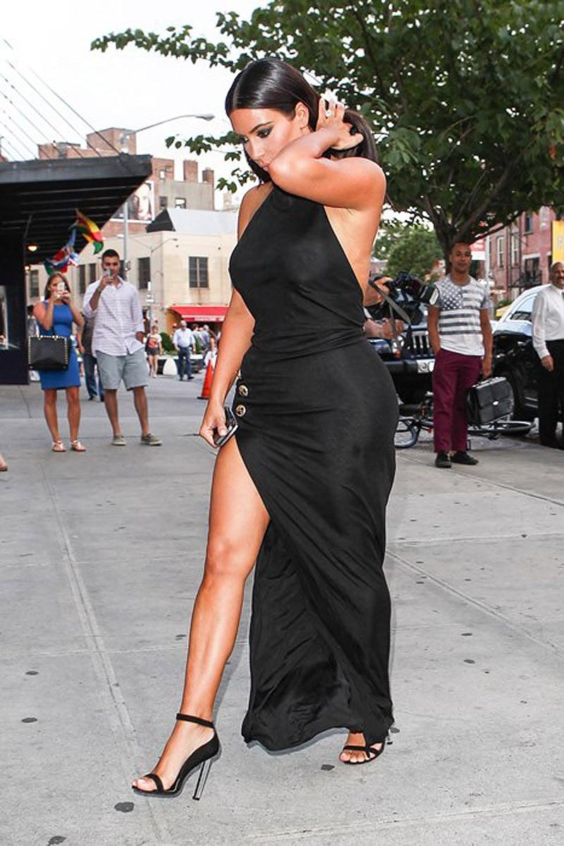 Dress black kim kardashian - Aliexpress Com Buy 2014 Hot Kim Kardashian Dress Sexy Women Black Celebrity Dresses Halter High Side Slit Vestido De Festa Backless Evening Gowns From