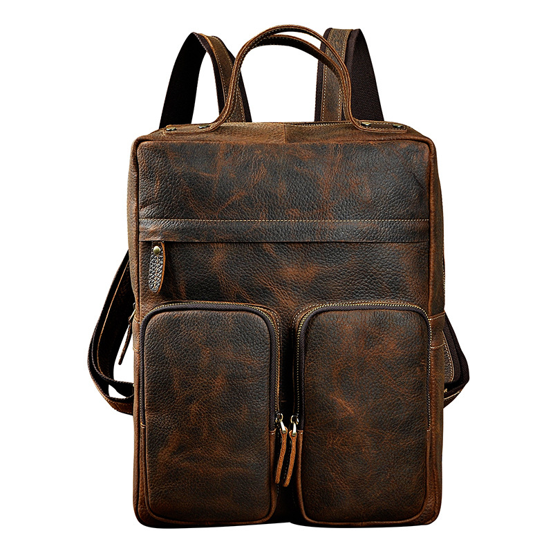 Men Genuine Leather Bag Rucksack Daypack Computer Book Bags Travel Large Capacity Knapsack School Crazy Horse Cowhide BackpackMen Genuine Leather Bag Rucksack Daypack Computer Book Bags Travel Large Capacity Knapsack School Crazy Horse Cowhide Backpack