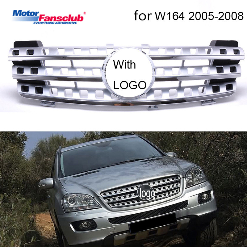 1 pcs Car Racing W164 Grill Grille Para Mercedes Benz ML-Classe 2005-2008 Emblemas Chrome Malha Radiador amortecedor dianteiro Inferior Modificar