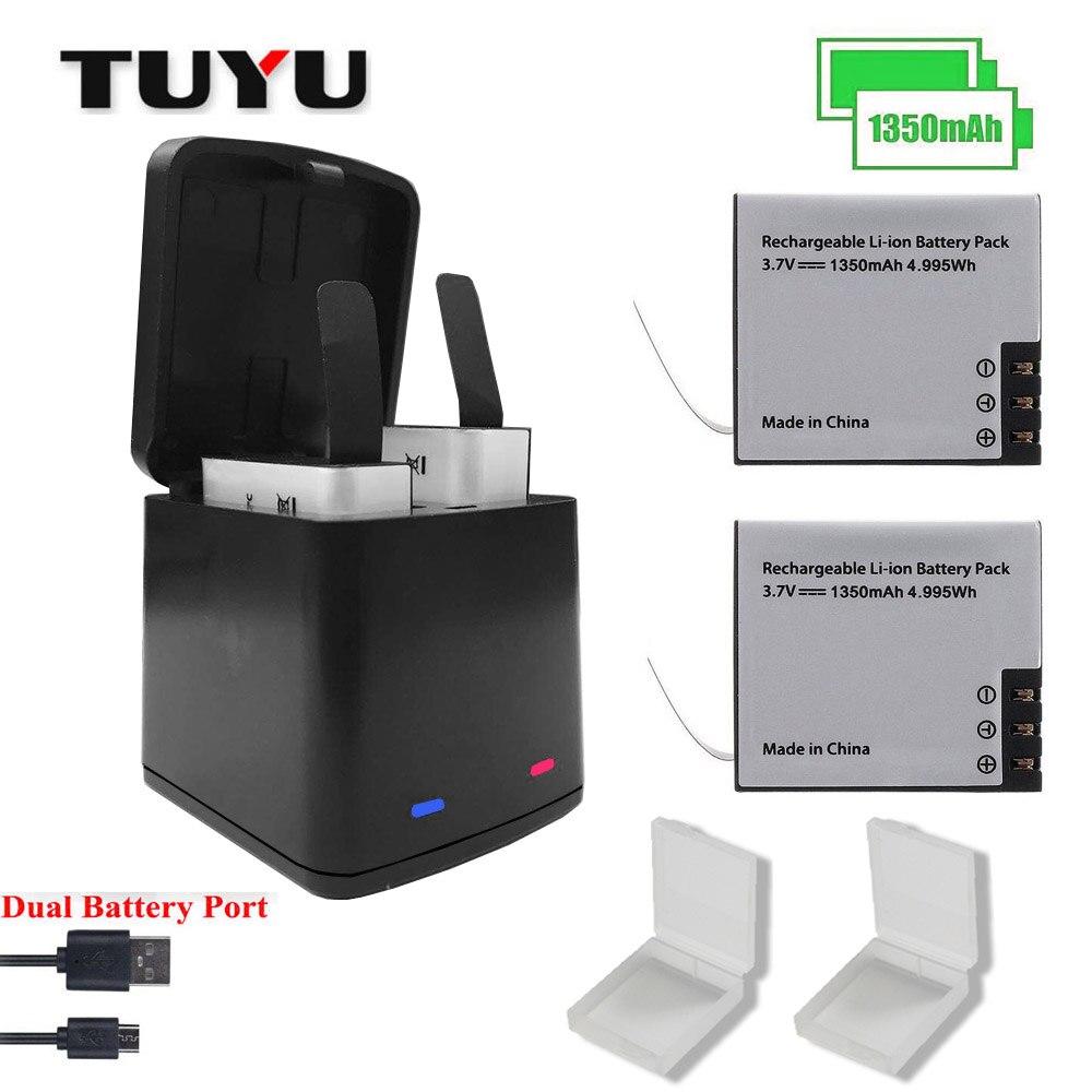 TUYU Montagne Chien Caméra Accessoires Double SJCAM sj4000 Double Chargeur 1350 mah 2 pcs Universel Batterie Sj5000 M10 sj7000EKEM Série
