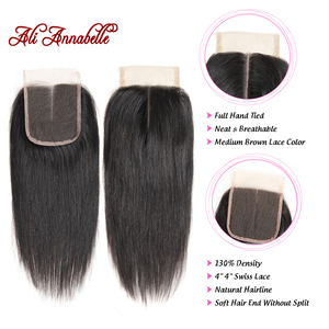 Image 3 - ALI ANNABELLE HAIR Brazilian Straight Lace Closure Middle Part Medium Brown Swiss Lace 4x4 Brazilian Remy Hair Lace Closure