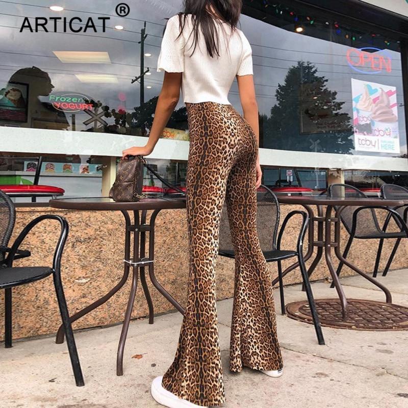 Articat Leopard Print High Waist   Wide     Leg     Pants   Women Club Wear Skinny Stretchy Ladies Trousers Autumn Winter Streetwear   Pants