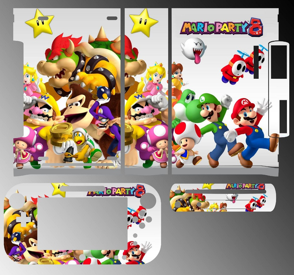 Skin Sticker Cover For Nintendowii Console And 2 Remotes Super Mario Party 215 Video Game Accessories