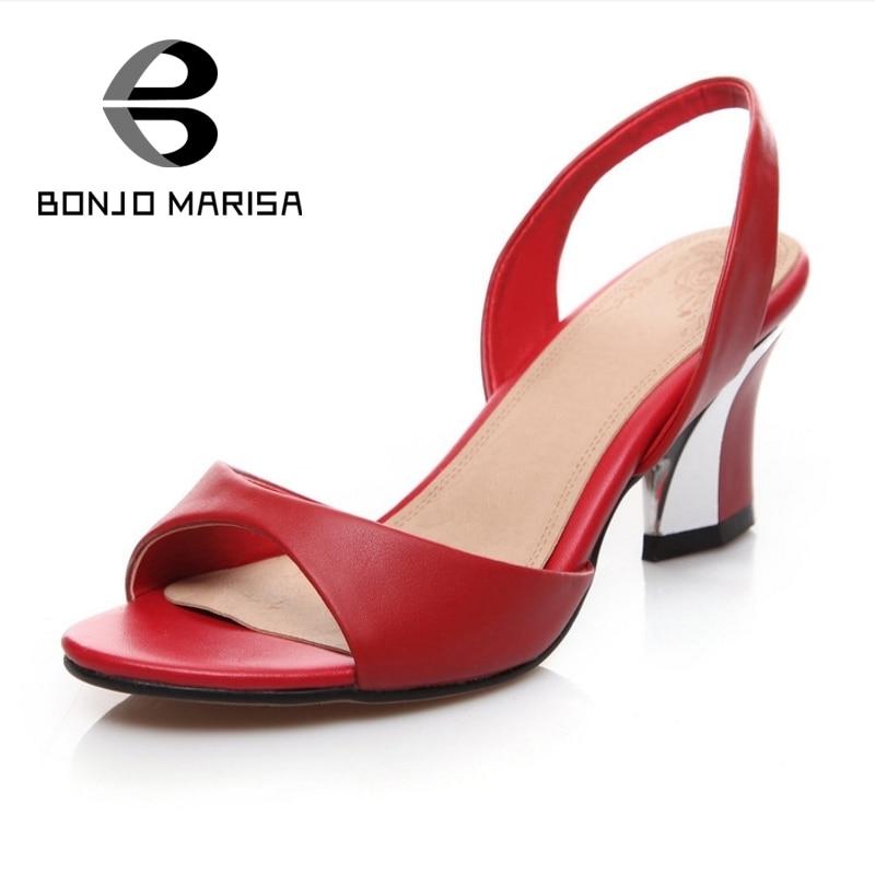 ФОТО BONJOMARISA Plus Size 33-44 Genuine Leather Sandals Chunky High Heels Open Toe Platform Shoes Summer Party Wedding