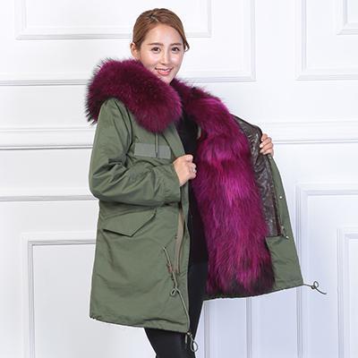 Manteau d'hiver à capuche en fourrure de raton laveur pour femmes