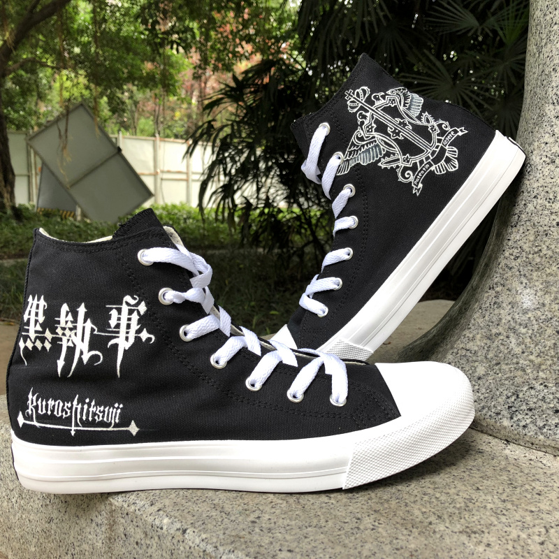 Wen Hand Painted Design Shoes Black Butler Sebastian Michaelis Anime High Top Black Canvas Women Shoes Men Skateboard Sneakers цена
