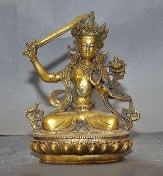 wedding decoration Tibet Buddhism Temple Bronze Gilt Manjushri Kwan-yin Tara Wenshu Goddess Statue