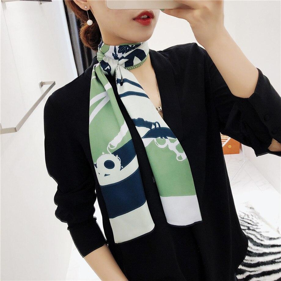 160cm Luxury Brand New Design Tassels Chain Twill Scarf Double-deck Women Scarf Head Silk Scarves Wraps Neckerchief For Ladies