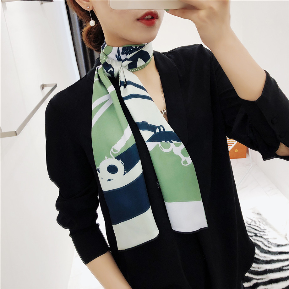 160cm Luxury Brand New Design Tassels Chain Twill   Scarf   Double-deck Women   Scarf   Head Silk   Scarves     Wraps   Neckerchief For Ladies