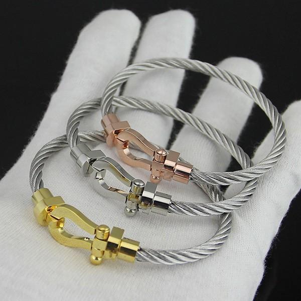 Très Chaude France de luxe Bijoux Hommes femmes En Acier Inoxydable de mode fil câble Cheval U Forme Boucle Bracelet bracelets en ros