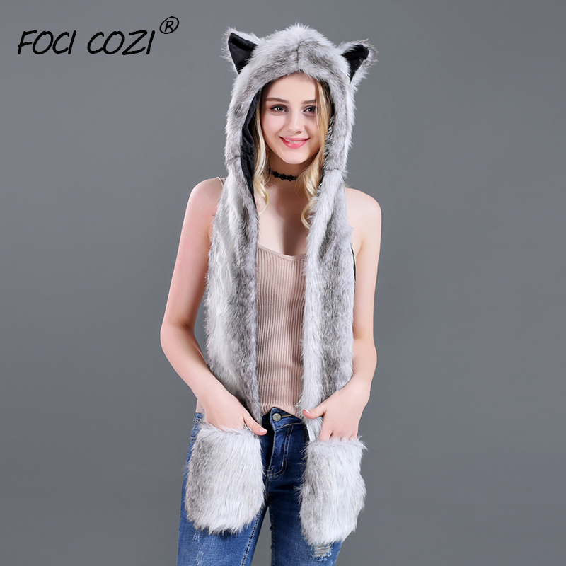 Gray White Female Winter Warm Soft Plush Faux Fur Hooded Cap Hat Scarf Gloves 3in1 hat and scarf for women A Nice Gift for Girl