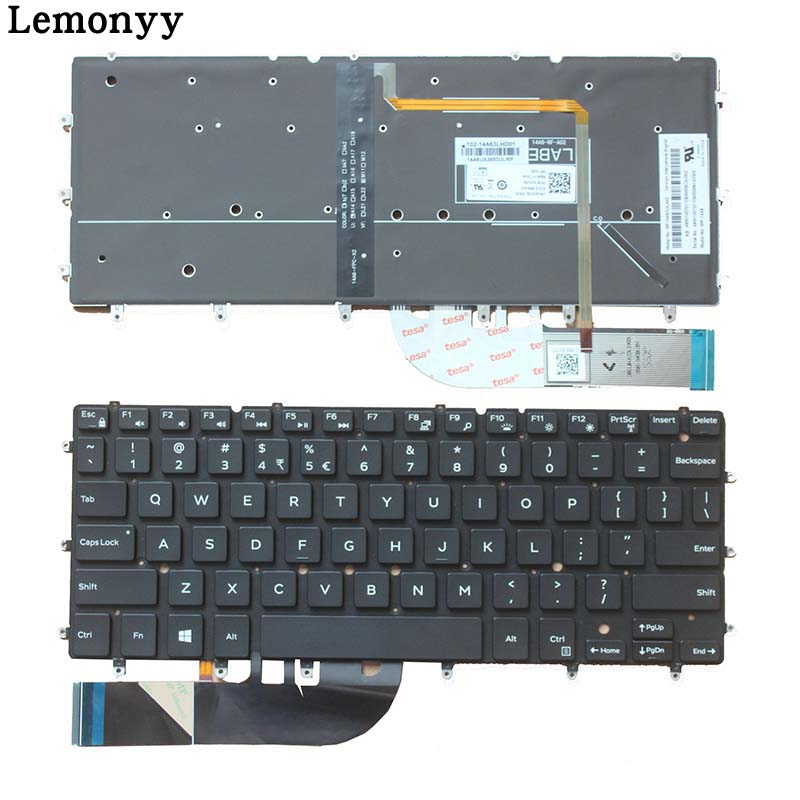 New Keyboard FOR DELL XPS 13 9343 xps13 9350 XPS 13 7352 7353 7359 15BR N7547 N7548 17-3000 US laptop keyboard Backlight laptop us keyboard for dell xps13 9343 9350 9360 backit keyboard touchpad and palmrest assembly