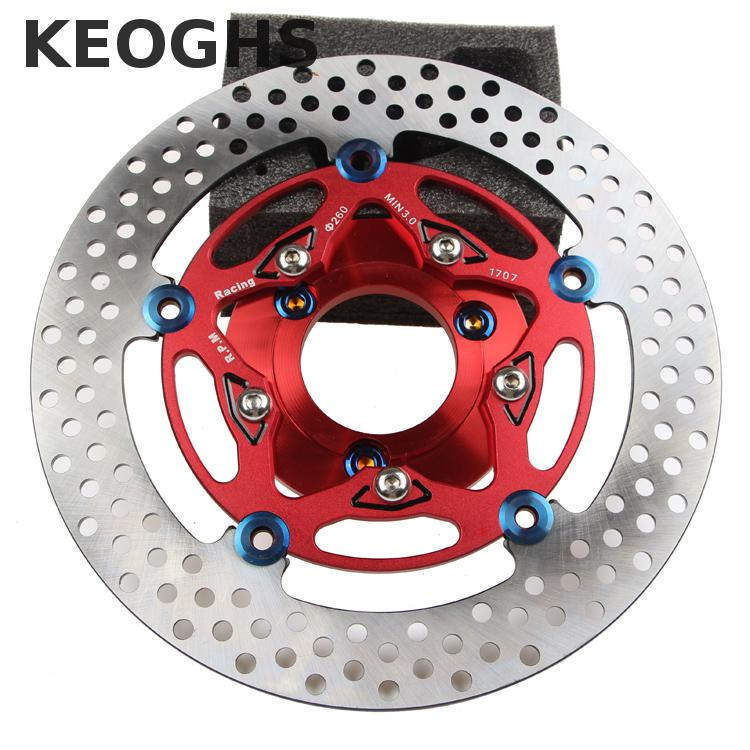 Keoghs Motorcycle 260mm Brake Disc/rotor With Washer/70mm Hole To Hole For Yamaha Scooter Bws Cygnus Modify keoghs motorbike rear brake caliper bracket adapter for 220 260mm brake disc for yamaha scooter dirt bike modify