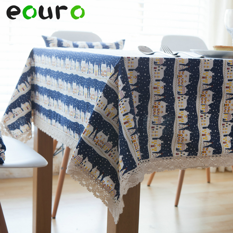 Christmas city night view pattern Linen cotton lace Table Cloth tablecloths desk cover Oven cover Bedside cabinet cover