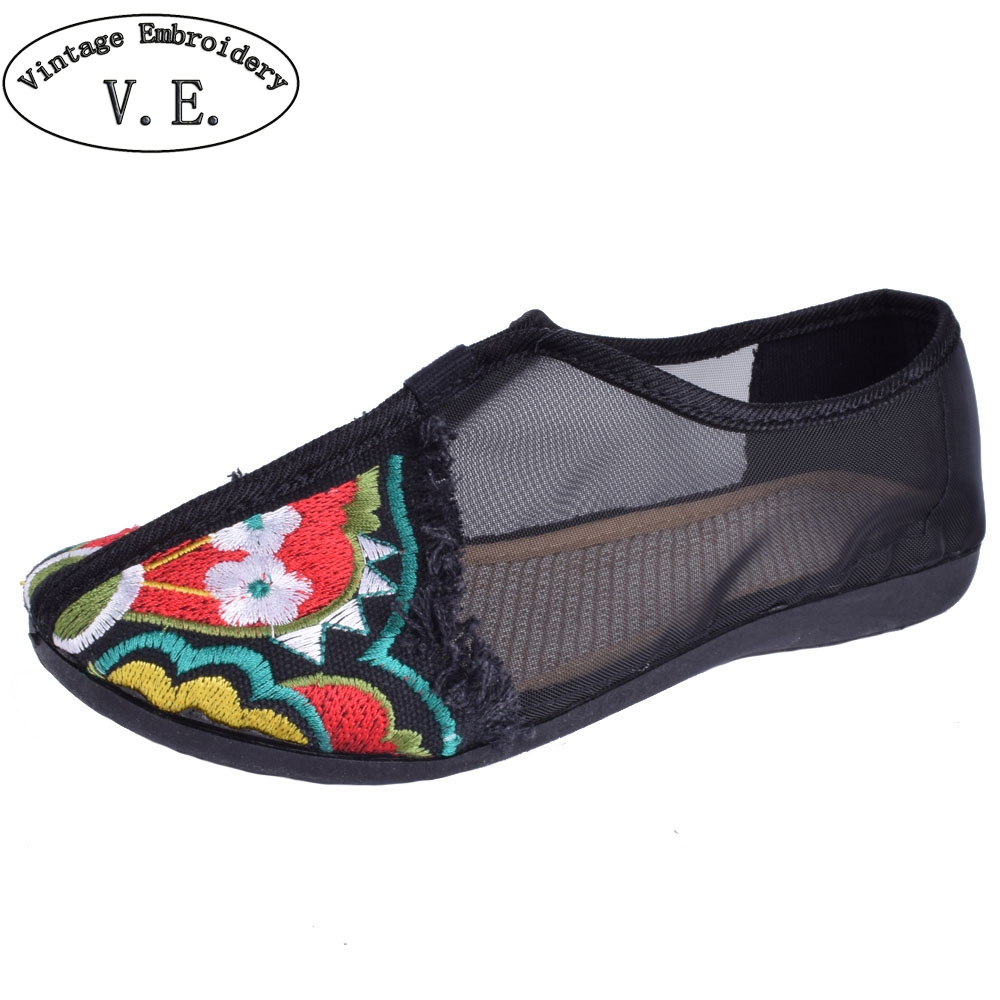 Women Embroidery Flats Spring Summer Embroidered Shoes Gauze Floral Casual Canvas Dance Shoes Soft Bottom Plus Size 41 wegogo canvas women casual shoes embroidery national casual flat shoe embroidered travel shoes flats sapato feminino bordado