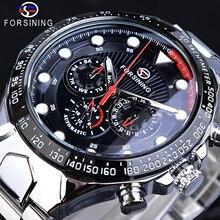 Forsining Brand Watch Men Chronograph Luminous Hand Auto Date Stainless Steel Black 30m Waterproof Fashion Sport Male Clock Gift