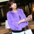 2016 Newest Women's Genuine Fox Fur Jacket Three Quarter Sleeve Female Short Outerwear Coats Korean Style VK1213