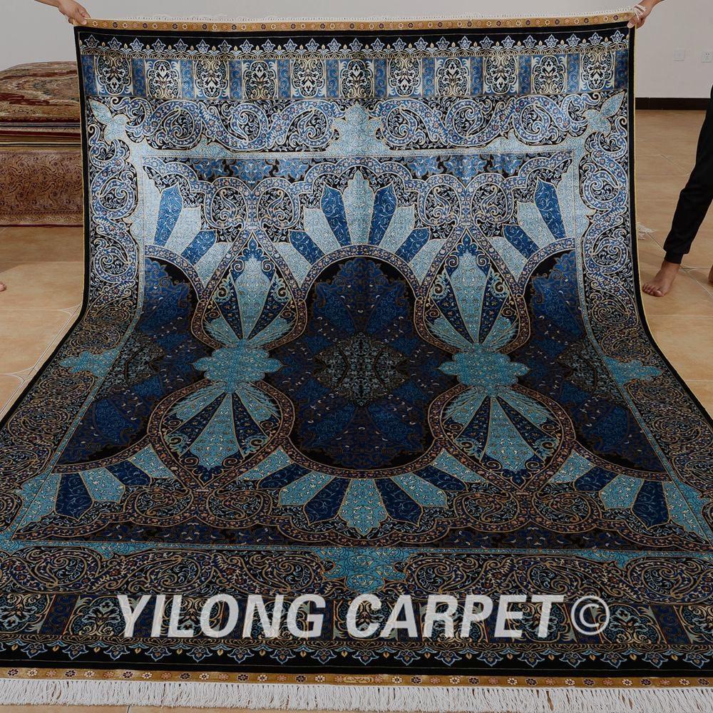 Yilong 6.56'x9.84' hand made turkish silk rug dark blue kashmir silk carpets (0767)