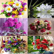 %%  Flower arranging 5D  diamond Painting flowers Cross Stitch diamond embroidery mosaic diamonds wall stickers home decor vase