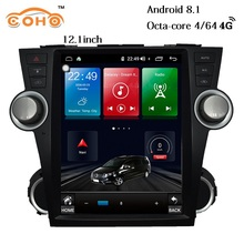 Highlander Android 8.1 4+64G 8-Core  12.1 inch Tesla radio multimedia 1 din android for 2008-2014 Toyota