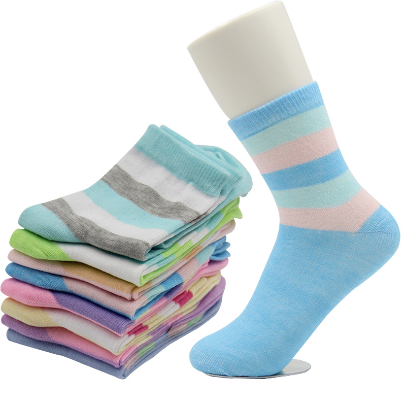 5Pairs Candy Color Striped Women Short Sock Breathable Absorb Sweat High Quality Cotton Women Socks Simple Lovely Girl Sock Meia