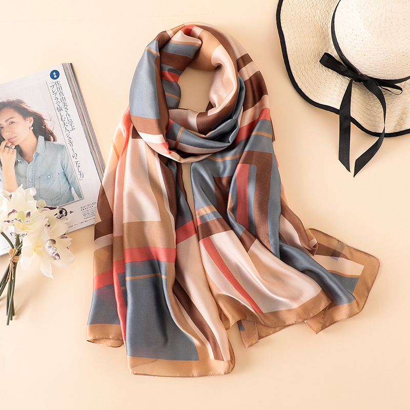 Classical Silk   Scarf   Women Print   Scarf   Blue Pink Khaki Color Silk   Wraps   Shawls and   Scarves   Bandana Hijabs