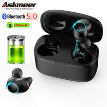 Askmeer T3 Wireless 5.0 Bluetooth Headset Waterproof TWS Earbuds HIFI Stereo Eaphone with Charging Case for Samsung Redmi iPhone