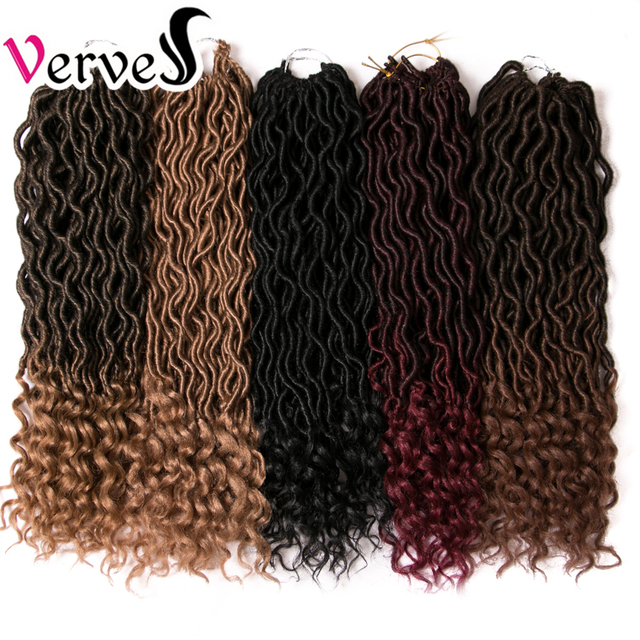 VERVES Faux Locs 18 inch Crochet braid Hair Extensions 24 strands/pack Braids Ombre Braiding Hair Synthetic Afro brown bulk