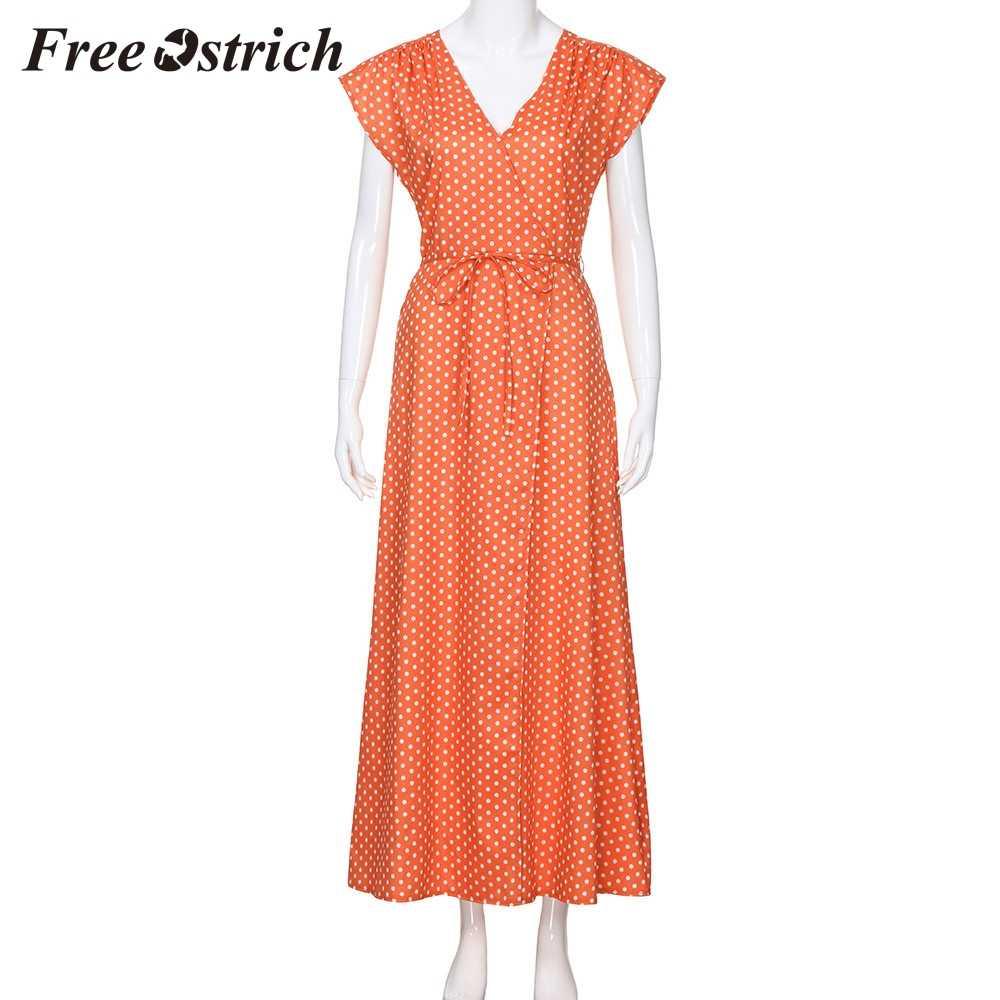 Бесплатная Страусиная 2019 женское длинное бохо платье в горошек дамское пляжное летнее пляжное макси платье новое французское праздничное стильное длинное платье Лидер продаж